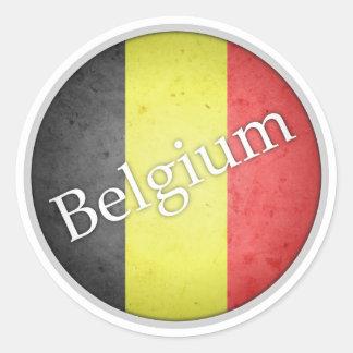 ベルギーの円形のグランジな旗のバッジ ラウンドシール