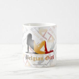ベルギーの女の子のシルエットの旗 コーヒーマグカップ