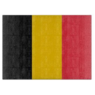 ベルギーの旗を持つガラスまな板 カッティングボード