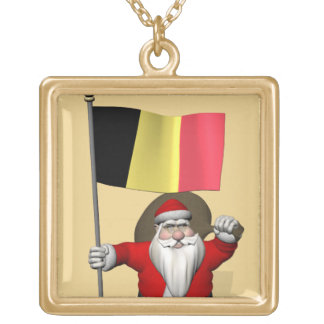 ベルギーの旗を持つ甘いサンタクロース ゴールドプレートネックレス