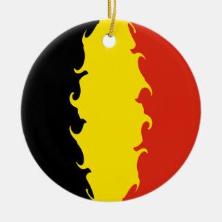 ベルギーの旗 陶器製丸型オーナメント