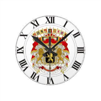 ベルギーの紋章付き外衣 ラウンド壁時計