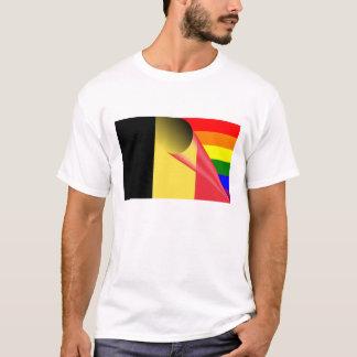 ベルギーゲイプライドの虹の旗 Tシャツ