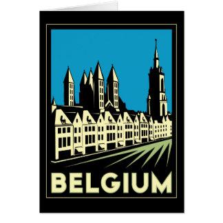 ベルギーヨーロッパのアール・デコレトロ旅行ヴィンテージ グリーティングカード