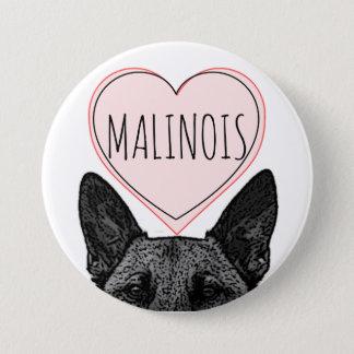 ベルギー人のMalinois犬の恋人のハートの大きいボタン 7.6cm 丸型バッジ