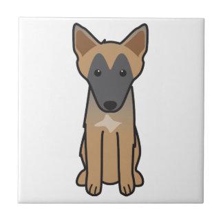 ベルギー人のMalinois犬の漫画 タイル