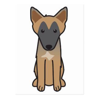 ベルギー人のMalinois犬の漫画 ポストカード