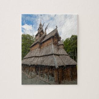 ベルゲン、ノルウェーのFantoftの横木教会 ジグソーパズル