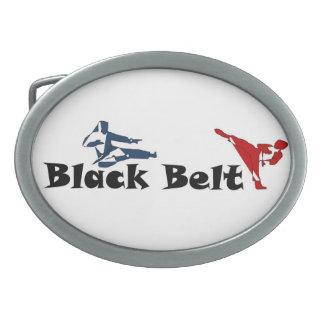 ベルトの留め金の武道の空手の黒帯 卵形バックル