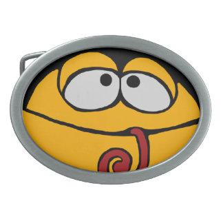 ベルトの留め金、おもしろいなカエルの漫画 卵形バックル