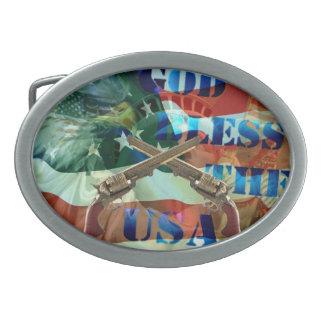 ベルトの留め金-神は米国を賛美します 卵形バックル
