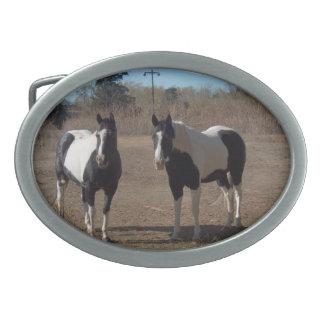 ベルトの留め金/2頭の馬 卵形バックル