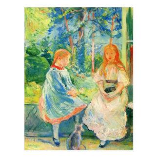 ベルト・モリゾ著窓による2人の女の子 ポストカード