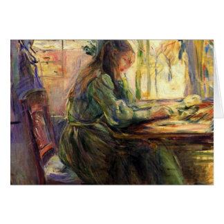 ベルト・モリゾ著若い女の子の執筆 カード
