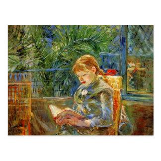 ベルト・モリゾ著読んでいる小さな女の子 ポストカード