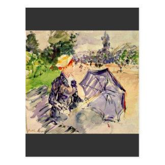 ベルト・モリゾ著Bois deブローニュの女性 ポストカード