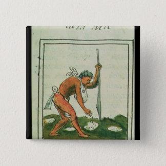 ベルナルディノde Sahagun著フィレンツェのCodex 5.1cm 正方形バッジ