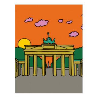 ベルリンのブランデンブルク門の日没 ポストカード