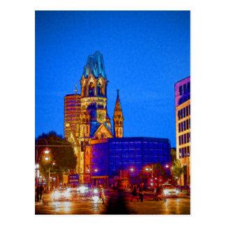 ベルリンの夜遊び- Kaiserウィルヘルムの記念物教会 ポストカード