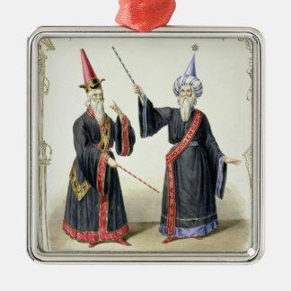 ベルリン1836年のカーニバルの手品師(色 メタルオーナメント