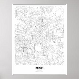 ベルリン、ドイツの最小主義の地図ポスター(スタイル2) ポスター