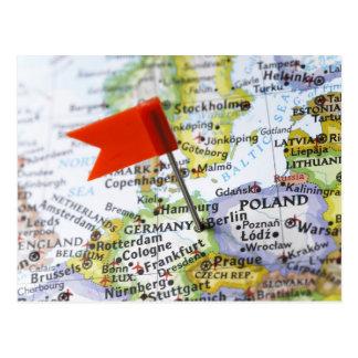 ベルリン、地図のドイツに置かれるピンの地図を描いて下さい ポストカード