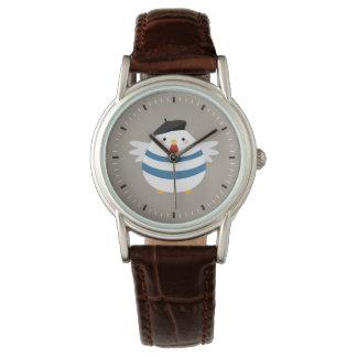 ベレー帽の絵を含むかわいくフランスのな雌鶏 腕時計