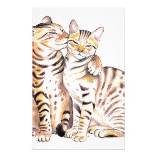 ベンガル2匹の猫の水彩画の芸術 便箋