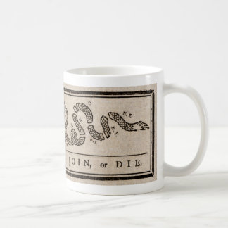 ベンジャミン・フランクリンによって政治漫画結合しますか、または死んで下さい コーヒーマグカップ