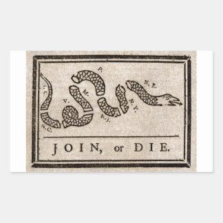 ベンジャミン・フランクリンによって政治漫画結合しますか、または死んで下さい 長方形シール