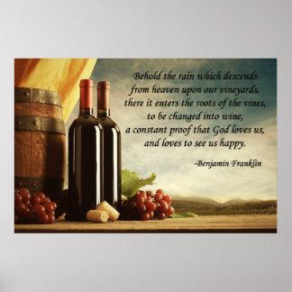 ベンジャミン・フランクリンのワインの引用文 ポスター