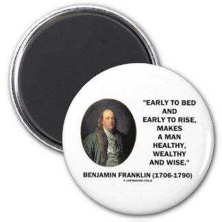 ベンジャミン・フランクリンの健康で豊かで賢い引用文 マグネット