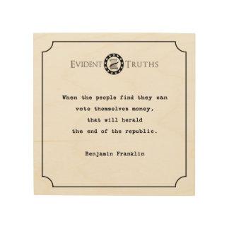 ベンジャミン・フランクリンの引用文の素朴な壁のプラク ウッドウォールアート