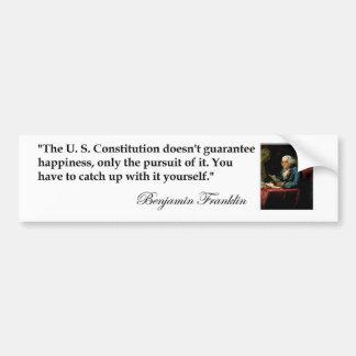 """ベンジャミン・フランクリンの引用文""""米国憲法… """" バンパーステッカー"""