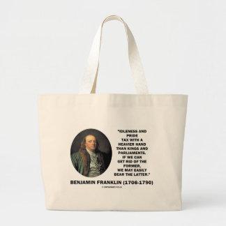 ベンジャミン・フランクリンの怠惰のプライド税のより重い手 ラージトートバッグ