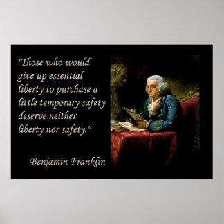 ベンジャミン・フランクリンの自由の自由の引用文のプリント ポスター