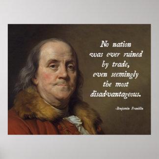 ベンジャミン・フランクリンの自由貿易 ポスター
