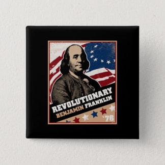 ベンジャミン・フランクリンの革命家ボタン 5.1CM 正方形バッジ