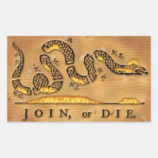ベンジャミン・フランクリンは政治漫画結合しますか、または死にます 長方形シール