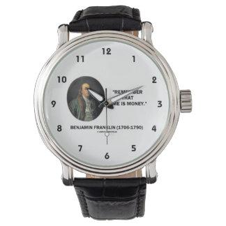 ベンジャミン・フランクリンは時間がお金の引用文であることを覚えています 腕時計