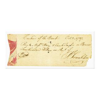 ベンジャミン・フランクリンは点検1787年に10月2日署名しました キャンバスプリント