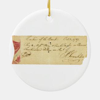 ベンジャミン・フランクリンは点検1787年に10月2日署名しました セラミックオーナメント