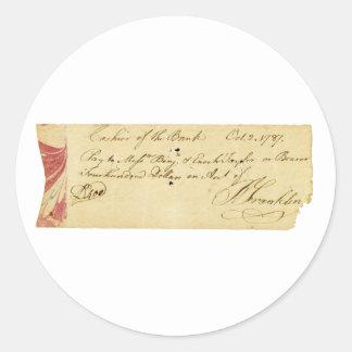 ベンジャミン・フランクリンは点検1787年に10月2日署名しました ラウンドシール