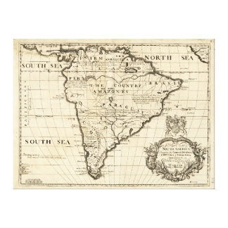ベンジャーミンのCole (1722年)による南アメリカの地図 キャンバスプリント
