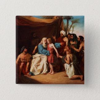 ベンジャーミン1829年を解放することを断っているヤコブ(cの油 5.1cm 正方形バッジ