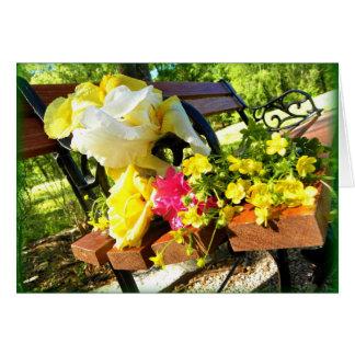 ベンチおよび花 カード