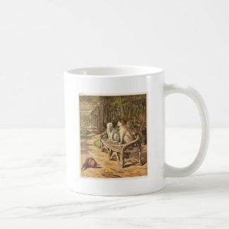 ベンチのアートワークの猫 コーヒーマグカップ