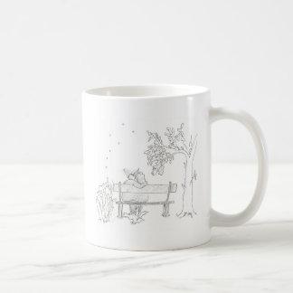 ベンチのスケッチの1953年のヴィンテージの恋人 コーヒーマグカップ