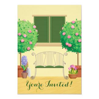 ベンチのブライダルシャワーの招待状が付いている鉢植えな庭 12.7 X 17.8 インビテーションカード