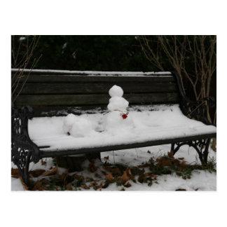 ベンチの雪だるま ポストカード
